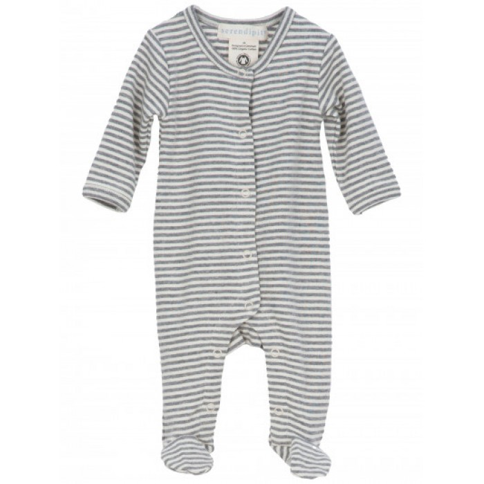 Newborn rib suit - Grey/Offwhite