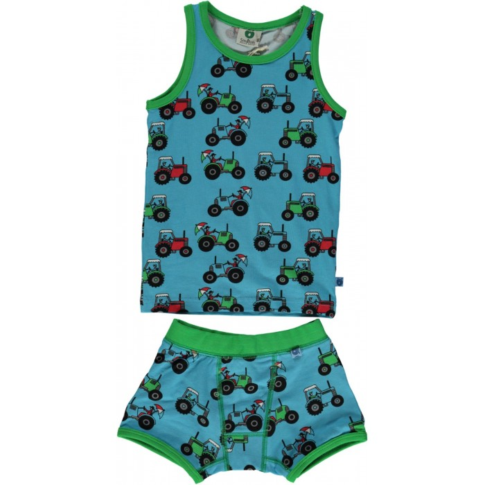Underwear with tractor - Blue Grotto