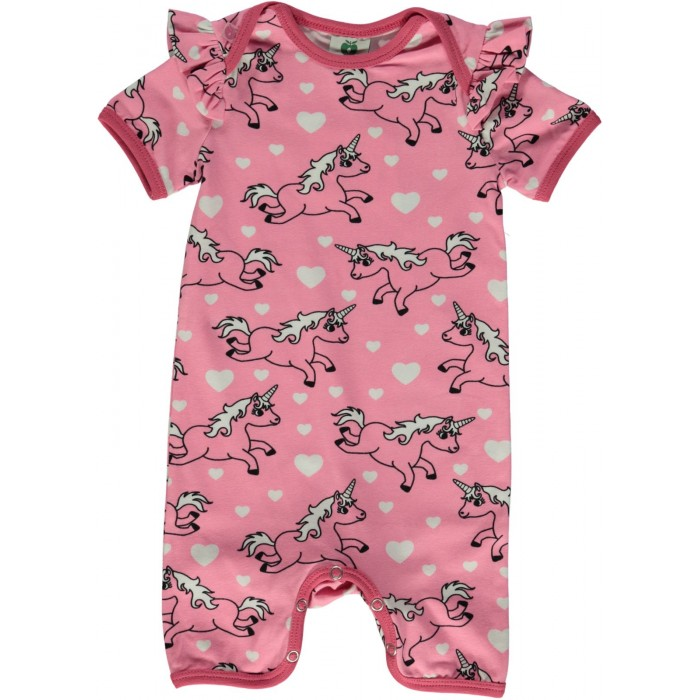 Body Suit with Unicorn - Sea Pink