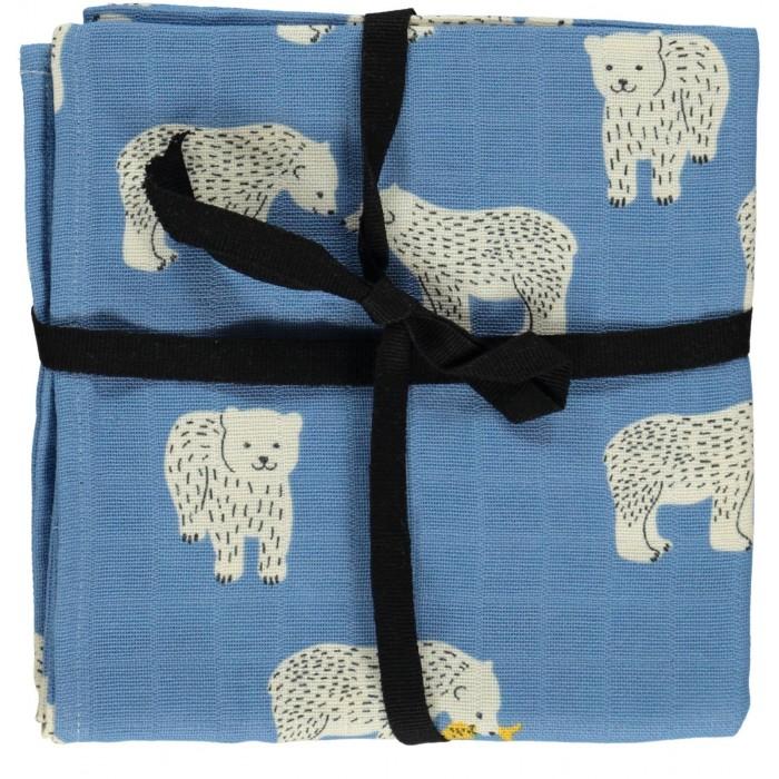 Burp cloth with polar bear print - Winter Blue